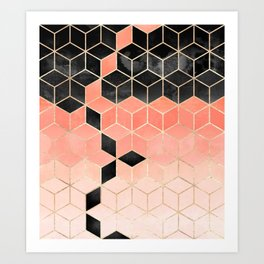Black And Coral Cubes Art Print