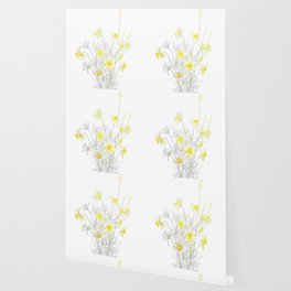 white daisy and yellow daffodils ink and watercolor Wallpaper