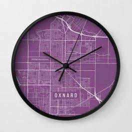Oxnard Map, USA - Purple Wall Clock