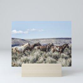 Horses Running On Steens Mountain Mini Art Print