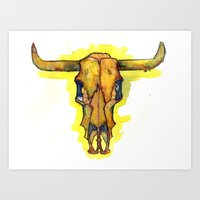 Art Print featuring Cattle Skull by Tessa Heck