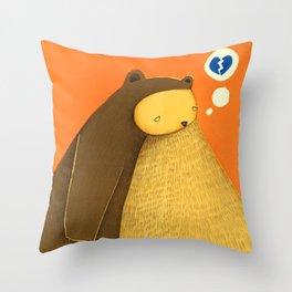 broken blue heart Throw Pillow