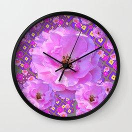 Purple Wild Rose Flowers Modern Art Abstract Pattern Wall Clock