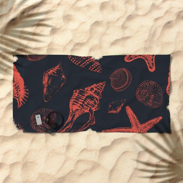 Underwater creatures in red and dark blue Beach Towel