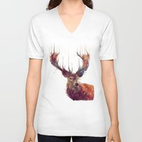 clock V-neck T-shirts featuring Red Deer // Stag by Amy Hamilton