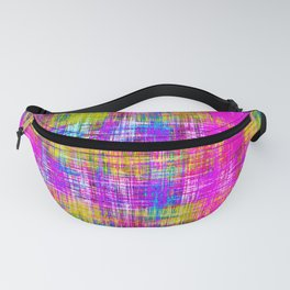 plaid pattern painting texture abstract background in pink purple blue yellow Fanny Pack