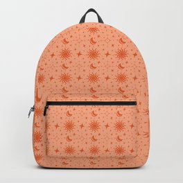 The Sun, Moon, Stars & Compass Points NEWS - Navigation Tools & Celestial Bodies in Two Tone Orange Backpack