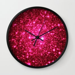 Hot Pink Glitter Galaxy Stars Wall Clock