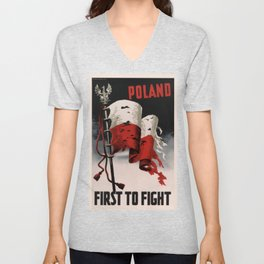 Poland First To Fight Unisex V-Neck