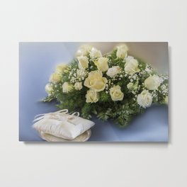 bridal bouquet and wedding rings Metal Print