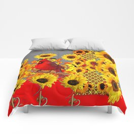 MODERN ABSTRACT RED CARDINAL YELLOW SUNFLOWERS GREY ART Comforters
