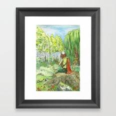 Druid Playing Lute in an Open Meadow Framed Art Print