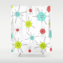 Atomic Age Colorful Planets Shower Curtain