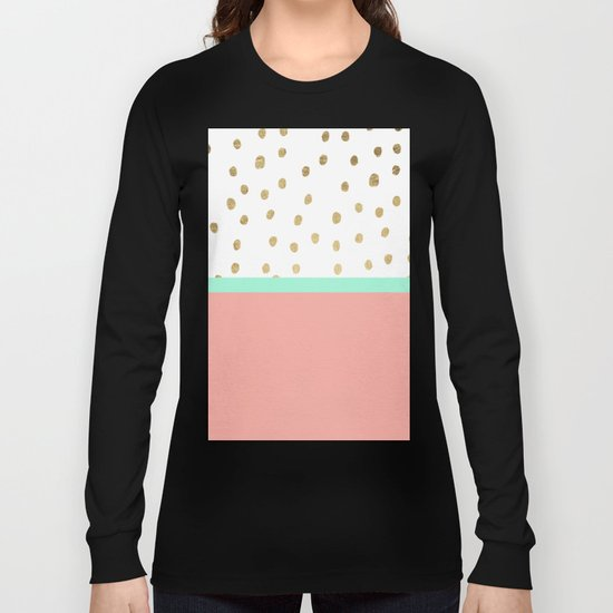 Coral teal color block faux gold foil polka dots pattern  Long Sleeve T-shirt