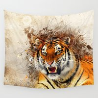 fierce Wall Tapestries featuring Fierce by Robin Curtiss