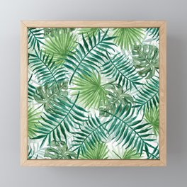 Large Green Fern Palm and Monstera Tropical Plants Framed Mini Art Print