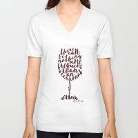 oscar wilde V-neck T-shirts featuring Drink - Oscar Wilde by Dianne Delahunty