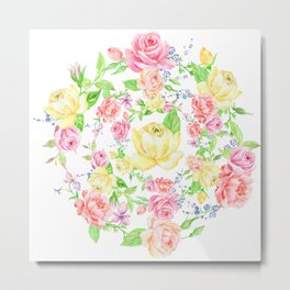Bouquet of PINK, RED & YELLOW rose - wreath Metal Print