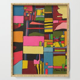 Colors in Collision 2 - Geometric Abstract in Blue Yellow Pink and Green Serving Tray