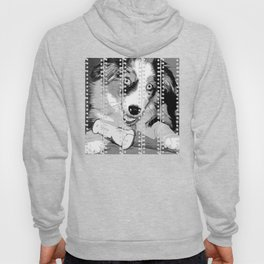 australian shepherd aussie dog puppy vector art black white Hoody