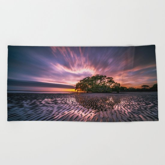 Landscape reflection 2 waves sky Beach Towel