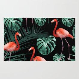 Tropical Flamingo Night Pattern #1 #tropical #decor #art #society6 Rug