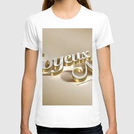 Joyeux Noel golden 3d inscription Merry Christmas in French 3d art golden christmas background metal T-shirt
