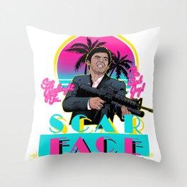 Scarface Miami Vice Mashup Throw Pillow