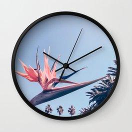 Birds of Paradise Print {3 of 3} | Palm Trees Ocean Summer Beach Cool Blue Photography Art Wall Clock