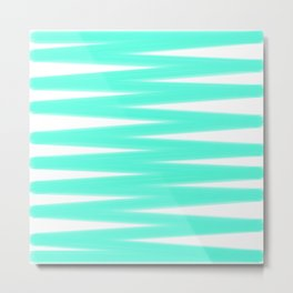 Light Mint Zigzag Pattern - White Metal Print