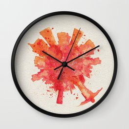 Rio de Janeiro, Brazil Colorful Skyround / Skyline Watercolor Painting Wall Clock