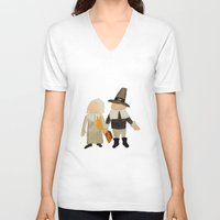 toddler V-neck T-shirts featuring Thanksgiving Pilgrim Toddler Girl and Boy Couple by PodArtist