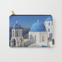 Santorini, Oia Village, Blue and White Church Carry-All Pouch