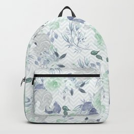 Watercolor mint green gray elephant geometric floral Backpack
