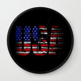 Distressed USA Flag Wall Clock