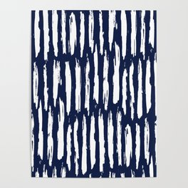 Vertical Dash White on Navy Blue Paint Stripes Poster