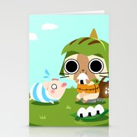 monster hunter Stationery Cards featuring Monster Hunter - Felyne and Poogie by tcbunny