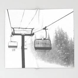 Chairlift Abyss // Black and White Chair Lift Ride to the Top Colorado Mountain Artwork Throw Blanket