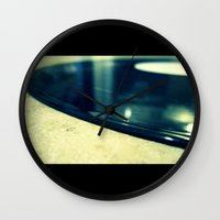 record Wall Clocks featuring Record by Derek Fleener
