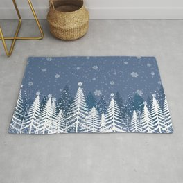 Winter Snow Forest Rug