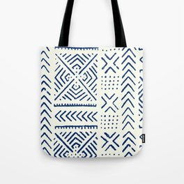 Line Mud Cloth // Ivory & Navy Tote Bag