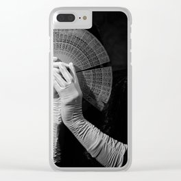 The white folding fan Clear iPhone Case