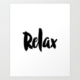 "Wall Decor ""Relax"" Printable Poster – Home Decor, Black and White Minimalist Inspirational Typograph Art Print"