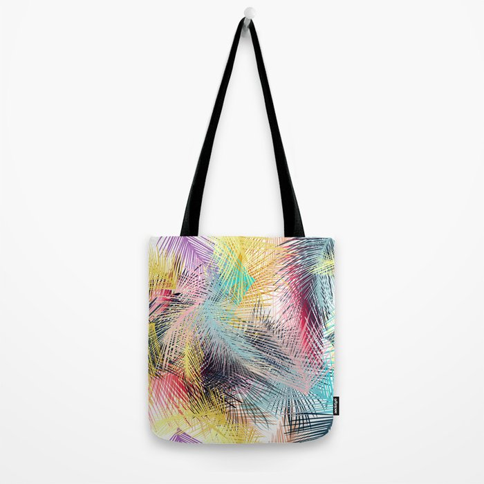 Jungle pampa colorful forest. Tropical fresh forest pattern with palms Tote Bag