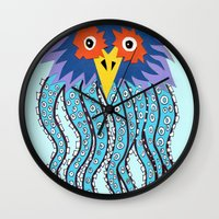 cthulu Wall Clocks featuring the owl of cthulu by ronnie mcneil