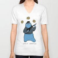 cookie monster V-neck T-shirts featuring Cookie Mobster by Sophie Corrigan