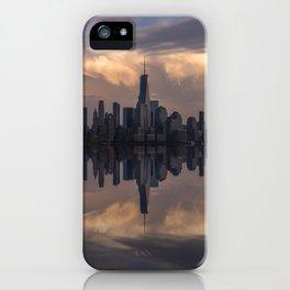 NYC skyline reflection iPhone Case