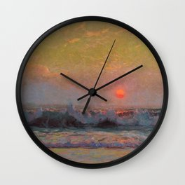 Last Sunset of Summer coastal landscape painting by Sydney Laurence Wall Clock