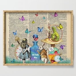 Alice In Wonderland Dictionary Page Celebration Serving Tray