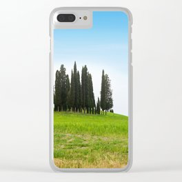 Beautiful spring minimalistic landscape with Italian Cypress on the green hills in Tuscany countrysi Clear iPhone Case